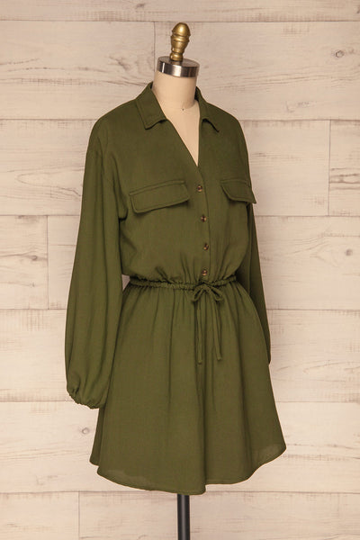 Bojanowo Khaki Green Long Sleeved Shirt Dress | La Petite Garçonne side view