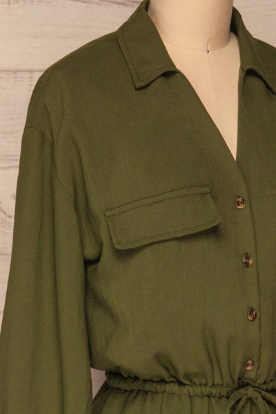 Bojanowo Khaki Green Long Sleeved Shirt Dress | La Petite Garçonne side close-up