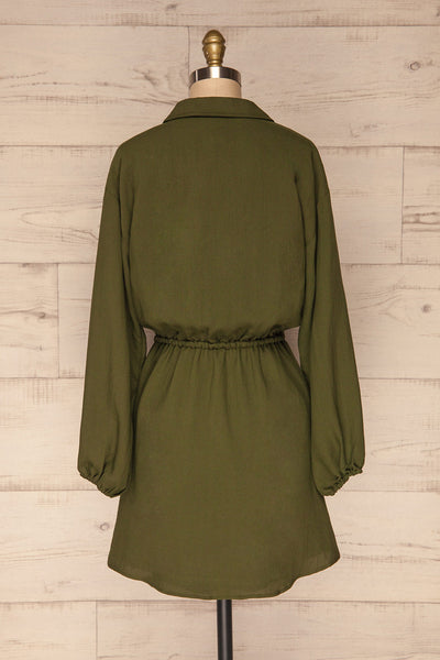 Bojanowo Khaki Green Long Sleeved Shirt Dress | La Petite Garçonne back view