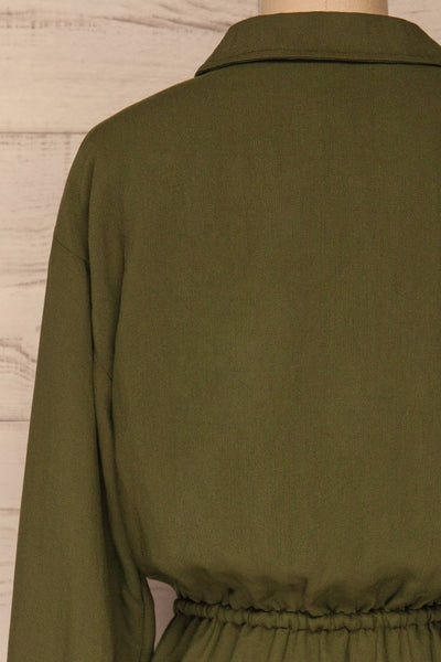 Bojanowo Khaki Green Long Sleeved Shirt Dress | La Petite Garçonne back close-up