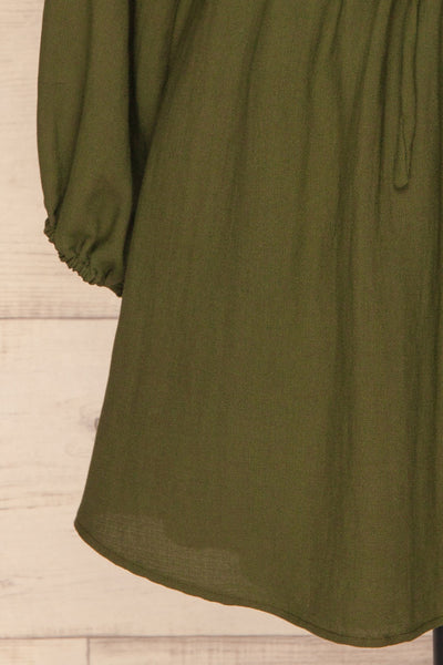 Bojanowo Khaki Green Long Sleeved Shirt Dress | La Petite Garçonne bottom close-up