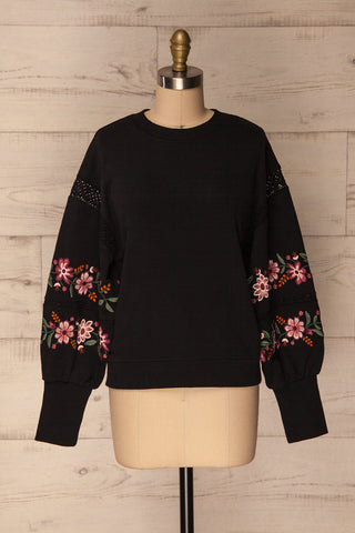 Bomlo Black Puff Sleeved Sweater with Embroidery | La Petite Garçonne