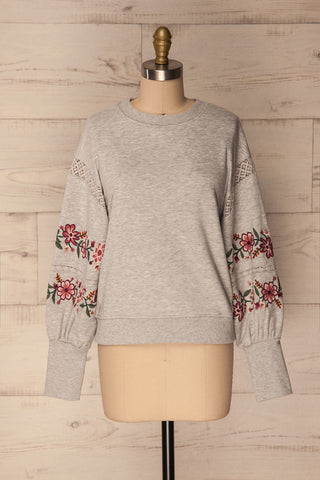 Bomlo Grey Puff Sleeved Sweater with Embroidery | La Petite Garçonne