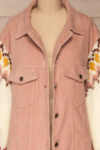 Borsele Pink Corduroy Jacket | Veste front close up | La Petite Garçonne