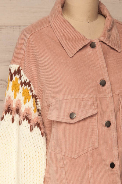Borsele Pink Corduroy Jacket | Veste side close up | La Petite Garçonne