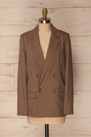 Boscras Brown Plaid Double Breasted Jacket | La Petite Garçonne