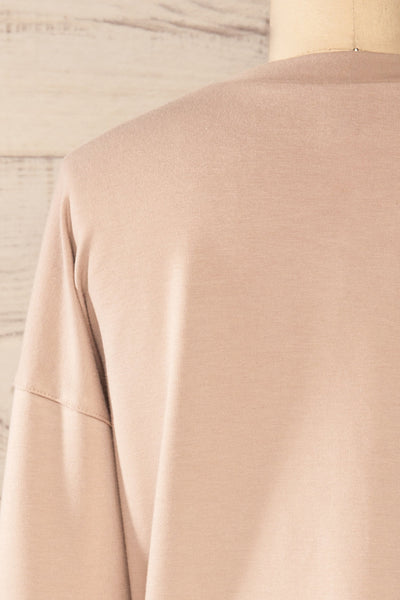 Boxy Taupe Crewneck Sweater | La petite garçonne back close-up