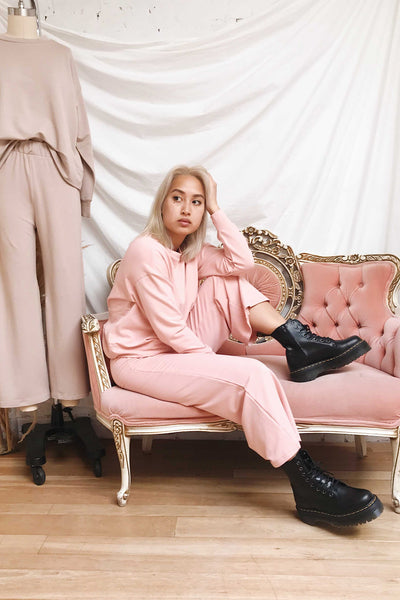Lucille Blush Pink Wide Leg Lounge Pants | La petite garçonne on model
