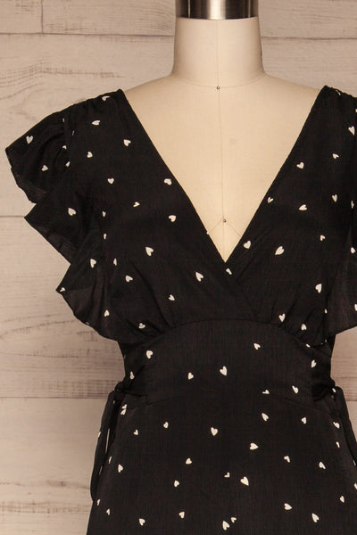 Braniewo Black & White Heart Jumpsuit front close up | La petite garçonne