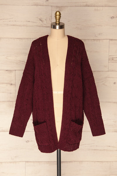 Breaza Burgundy Knit Cardigan w/ Pockets | FRONT VIEW | La Petite Garçonne