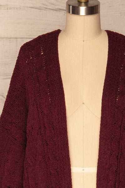 Breaza Burgundy Knit Cardigan w/ Pockets |FRONT CLOSE UP | La Petite Garçonne