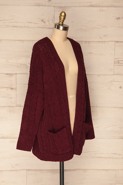 Breaza Burgundy Knit Cardigan w/ Pockets | SIDE VIEW | La Petite Garçonne