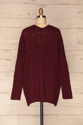 Breaza Burgundy Knit Cardigan w/ Pockets | BACK VIEW | La Petite Garçonne