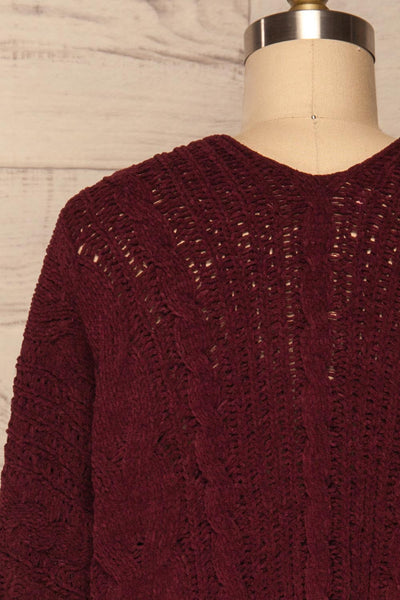 Breaza Burgundy Knit Cardigan w/ Pockets | BACK CLOSE UP  | La Petite Garçonne