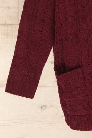 Breaza Burgundy Knit Cardigan w/ Pockets | SLEEVE CLOSE UP | La Petite Garçonne