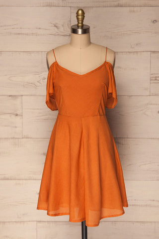 Bredene Orange Off-Shoulder A-Line Summer Dress | La Petite Garçonne