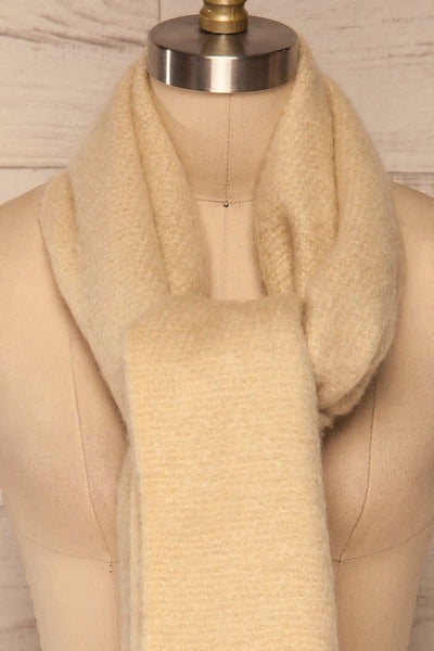 Bredevoort Beige Soft Knit Scarf w/ Fringe knot close up | La Petite Garçonne