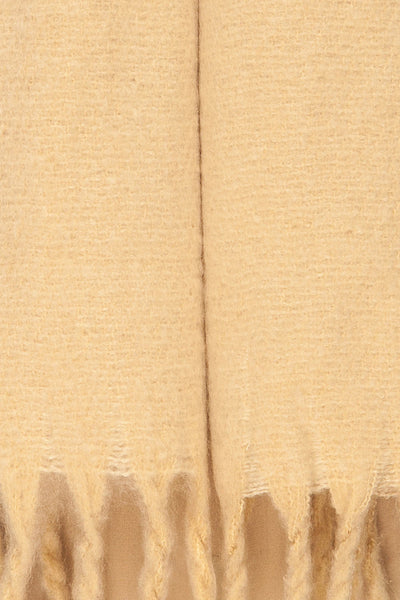 Bredevoort Beige Soft Knit Scarf w/ Fringe fabric close up | La Petite Garçonne