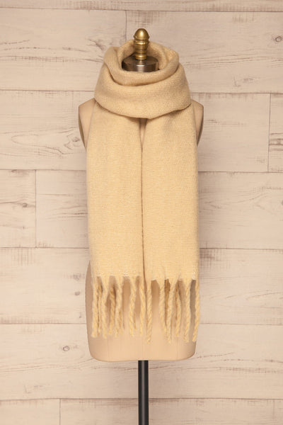 Bredevoort Beige Soft Knit Scarf w/ Fringe around neck view | La Petite Garçonne