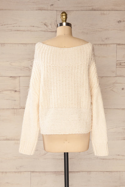 Briansk White Fuzzy Cropped Sweater | La petite garçonne back view