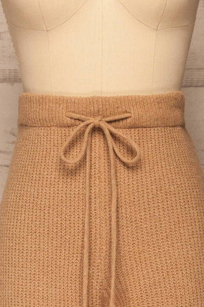 Briceni Beige Wide Leg Knit Pants | La petite garçonne front close-up