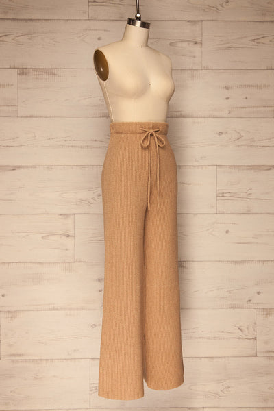 Briceni Beige Wide Leg Knit Pants | La petite garçonne side view