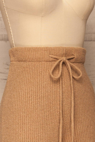 Briceni Beige Wide Leg Knit Pants | La petite garçonne side close-up