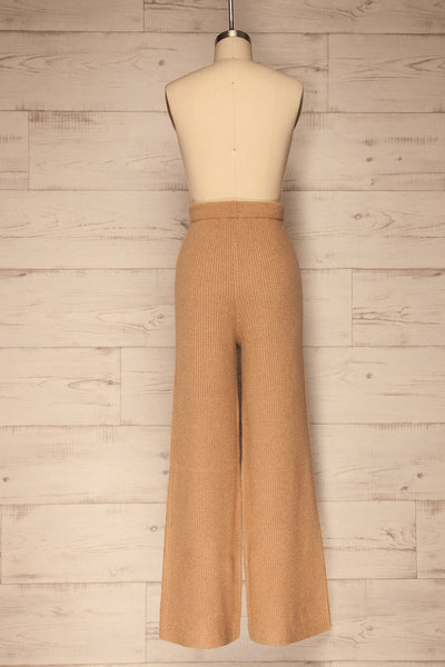 Briceni Beige Wide Leg Knit Pants | La petite garçonne back view