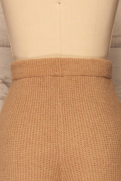 Briceni Beige Wide Leg Knit Pants | La petite garçonne back close-up