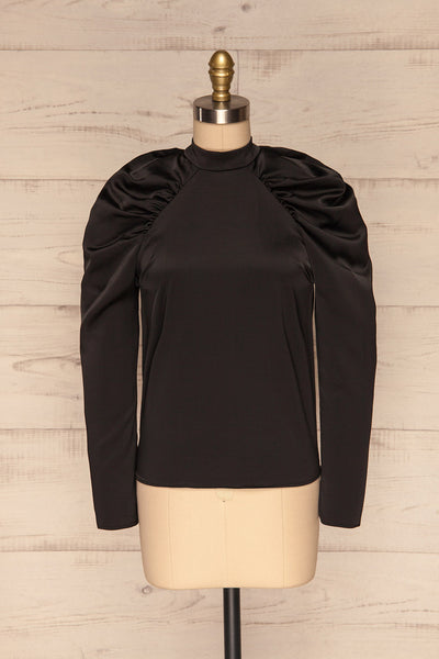 Bridgen Noir Black Long Sleeved Silky Top | FRONT VIEW | La Petite Garçonne