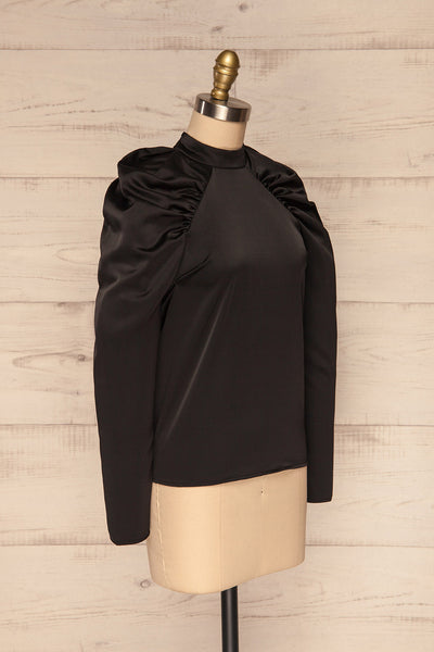 Bridgen Noir Black Long Sleeved Silky Top | SIDE VIEW | La Petite Garçonne