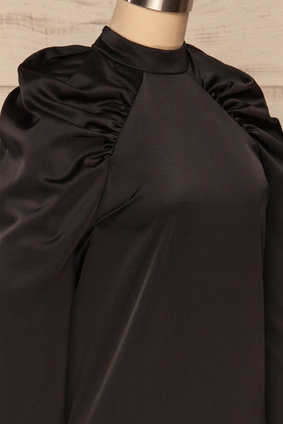 Bridgen Noir Black Long Sleeved Silky Top | SIDE CLOSE UP | La Petite Garçonne