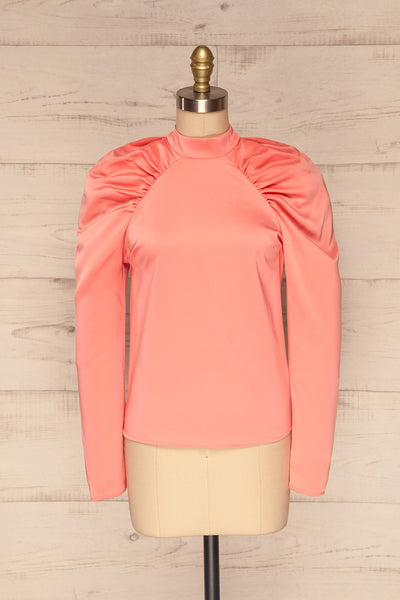 Bridgen Rose Pink Long Sleeved Silky Top | FRONT VIEW | La Petite Garçonne