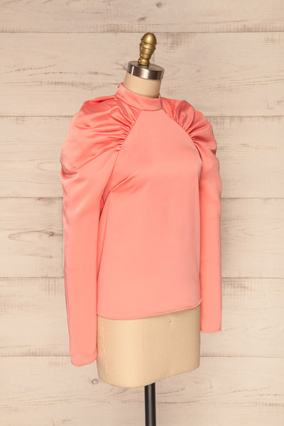 Bridgen Rose Pink Long Sleeved Silky Top | SIDE VIEW | La Petite Garçonne