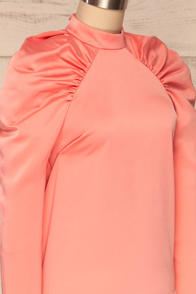 Bridgen Rose Pink Long Sleeved Silky Top | SIDE CLOSE UP | La Petite Garçonne