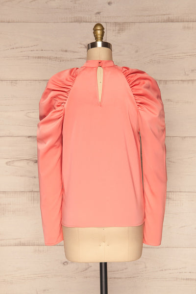 Bridgen Rose Pink Long Sleeved Silky Top | BACK VIEW | La Petite Garçonne