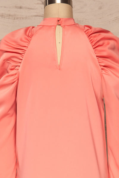Bridgen Rose Pink Long Sleeved Silky Top | BACK CLOSE UP  | La Petite Garçonne