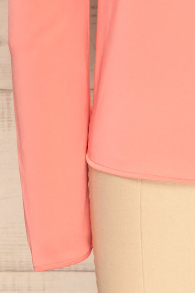 Bridgen Rose Pink Long Sleeved Silky Top | BOTTOM  CLOSE UP | La Petite Garçonne