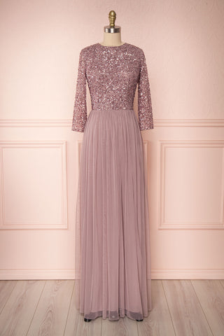 Brielle Lilac Sequin Flare Gown | Robe longue | Boutique 1861