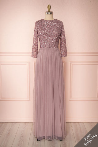Brielle Lilac Sequin Flare Gown | Robe longue front view FS | Boutique 1861