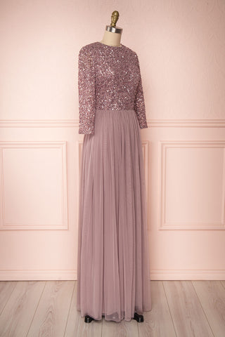 Brielle Lilac Sequin Flare Gown | Robe longue side view | Boutique 1861