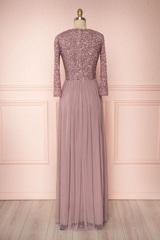 Brielle Lilac Sequin Flare Gown | Robe longue  back view | Boutique 1861