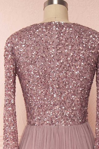 Brielle Lilac Sequin Flare Gown | Robe longue back close up | Boutique 1861