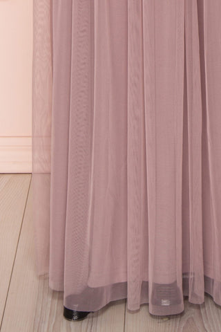Brielle Lilac Sequin Flare Gown | Robe longue skirt close up | Boutique 1861