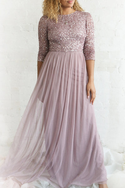 Brielle Lilac Sequin Flare Gown | Boutique 1861 on model