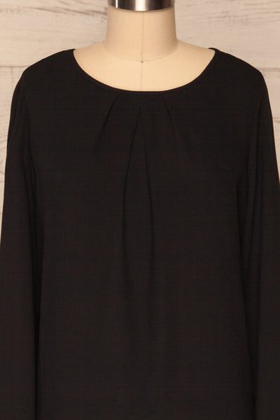 Brienza Black Long Sleeved Blouse | FONT CLOSE UP | La Petite Garçonne