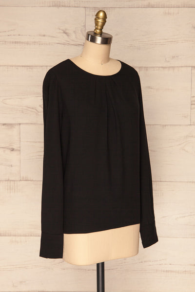 Brienza Black Long Sleeved Blouse | SIDE VIEW | La Petite Garçonne
