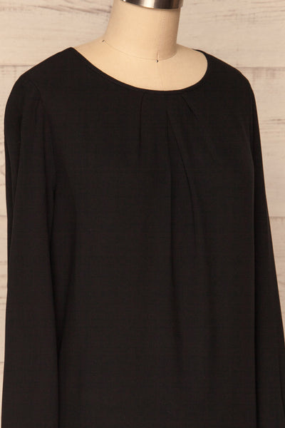 Brienza Black Long Sleeved Blouse | SIDE CLOSE UP | La Petite Garçonne