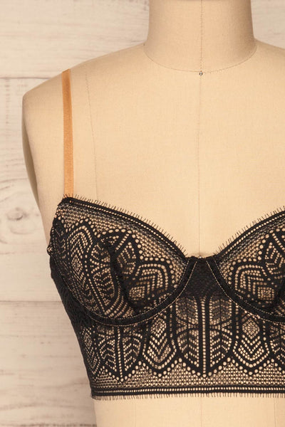 Brisy Black & Beige Lace & Mesh Bra | La Petite Garçonne Chpt. 2 front close-up
