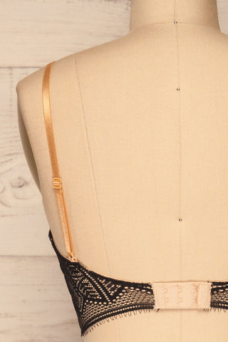 Brisy Black & Beige Lace & Mesh Bra | La Petite Garçonne Chpt. 2 back close-up